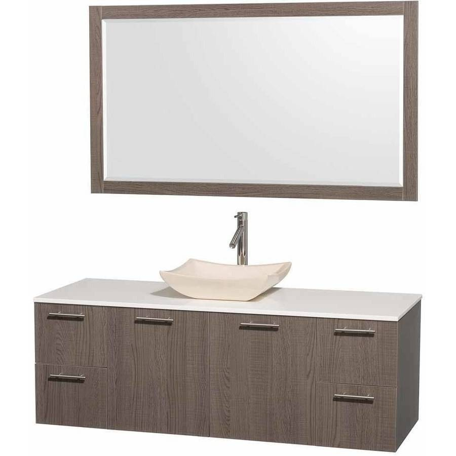 Wyndham Collection Amare 60 inch Single Bathroom Vanity in Gray Oak with White Man-Made Stone Top with Ivory Marble Sink, and 58 inch Mirror
