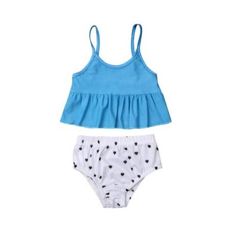 50af0fc58c8 Baby Sister Swimsuits Matching Bikini Sets Polka Dot Tops Tankini Blue  Pants Swimwear Set