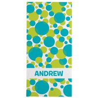 Personalized Lots of Dots Beach Towel - Available in Blue or Pink