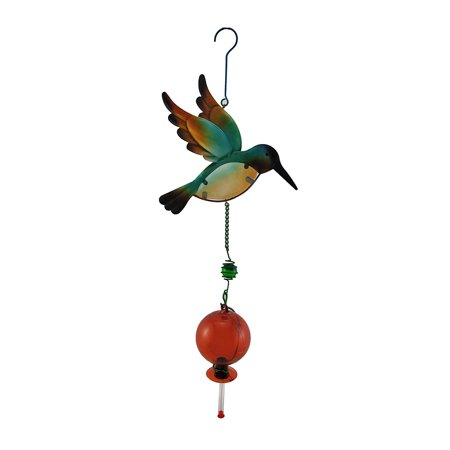 Blue Metal and Glass Hanging Hummingbird Feeder