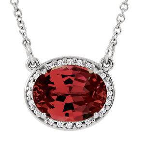 "14K White Mozambique Garnet & .05 CTW Diamond 16.5"" Necklace by"