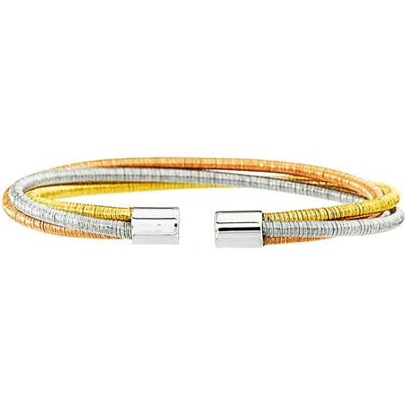 Lesa Michele Tri-Tone Sterling Silver Twist Wire Bangle