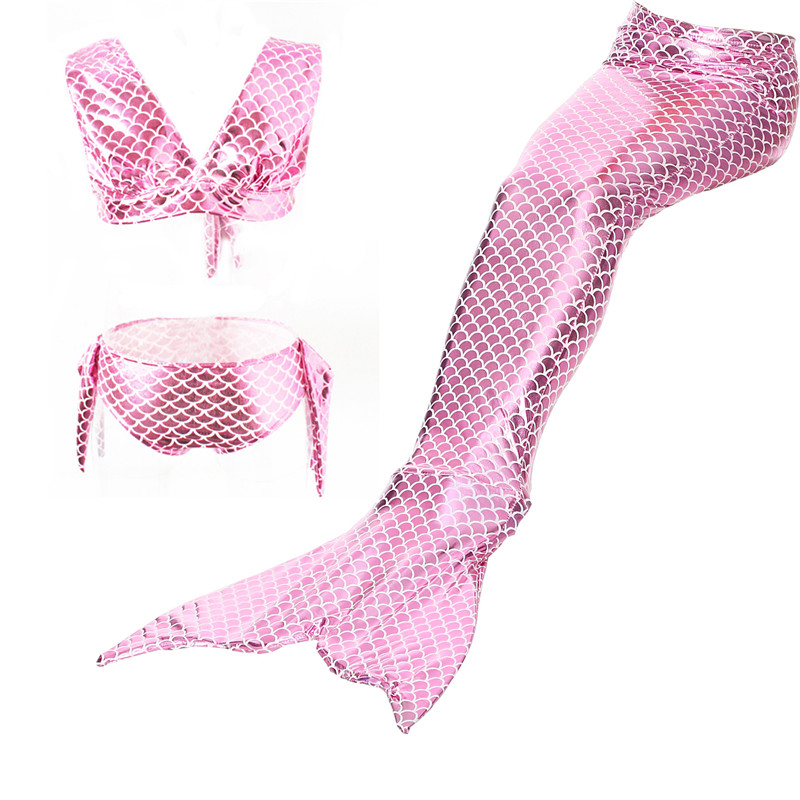 Estink Girls 3pcs Mermaid Tail Swiming Costume Swimwear Top Panties Monofin Flippers Swimsuit Swimmable Swimwear for Kids Girls Pink Great Gift for Children (110)