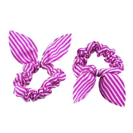 imitated rabbit Ear Stripes Stretchy Hairstyle Band Ponytail Holder White Pink 2 Pcs](Pink Ladies Hairstyle)