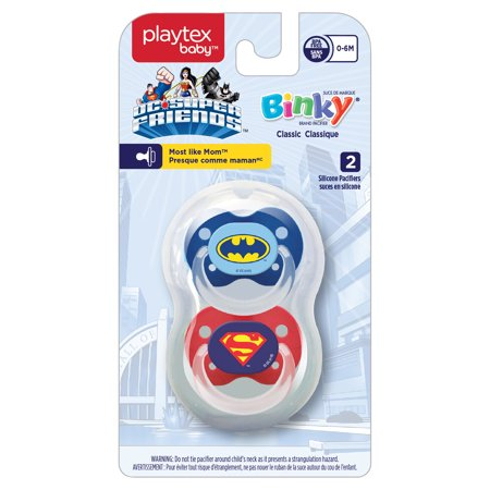 Playtex Silicone Super Friends Binky Pacifiers 0-6 Months+ 2 Pack Styles/Colors May Vary](Led Blinkies)