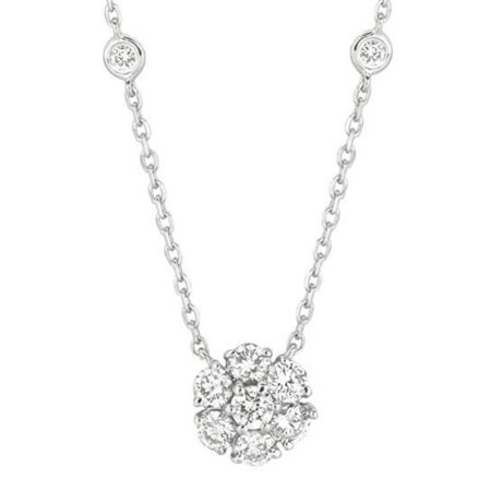 Harry Chad HC12851 1 CT Diamonds Flower & Bezel Necklace Pendant, White Gold 14K - Color G-H - VS2 & SI Clarity