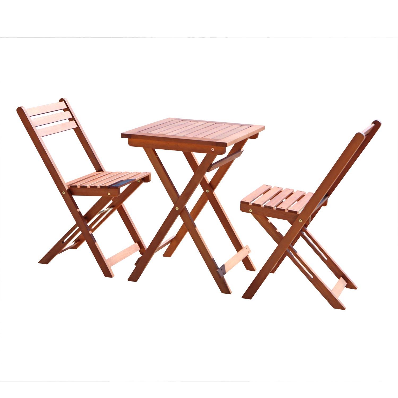 3-Piece Premium Eucalyptus Wood Bistro Set (1 Table & 2 Chairs) by DVG
