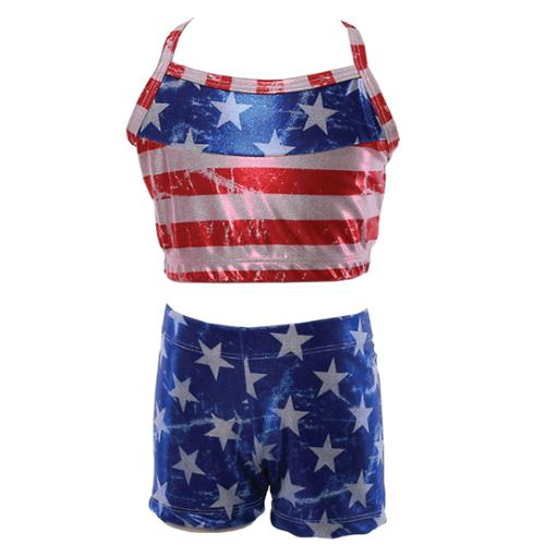 Reflectionz Little Girls Red Blue American Flag Top Shorts 2 Pc Set 4-6