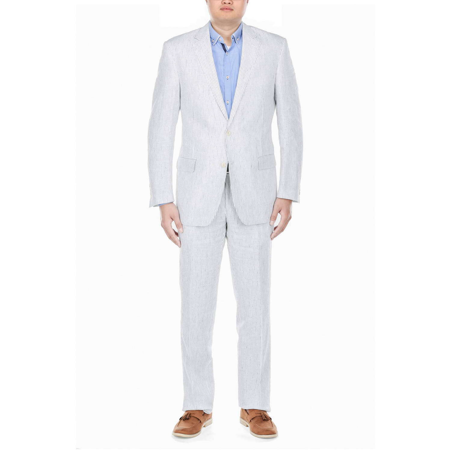 Verno Big Men's White Chalk Stripe Classic Fit Italian Styled Suit