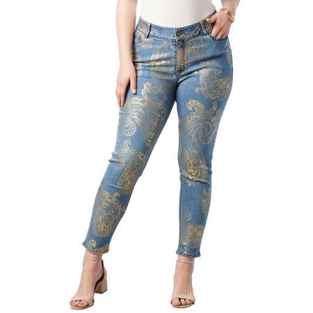 Roaman's Denim 24/7 Plus Size Foil Print Jean With Invisible Stretch