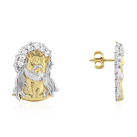 10k Real Yellow & White Gold Created Diamond Jesus Head Pushback Stud Earrings (Cheap Real Diamond Earrings)