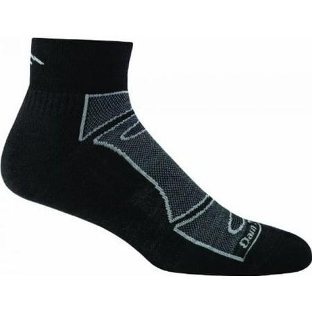 Darn Tough Vermont Men's 1/4 Merino Wool Sock Light Cushion Athletic Socks, Black/Gray, -
