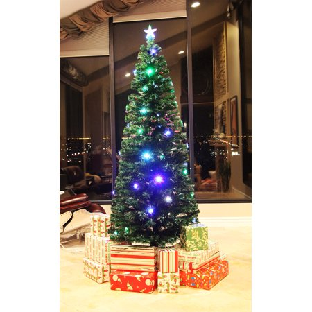 75 ft pre lit multi color led fiber optic christmas tree bright star