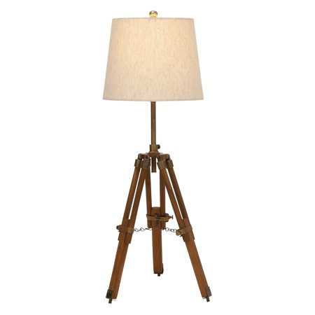 Decmode Wood And Metal Tripod Table Lamp  Multi Color