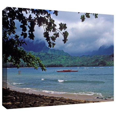 ArtWall 'Red Canoe on Hanalei Bay' by Kathy Yates Photographic Print on Wrapped Canvas