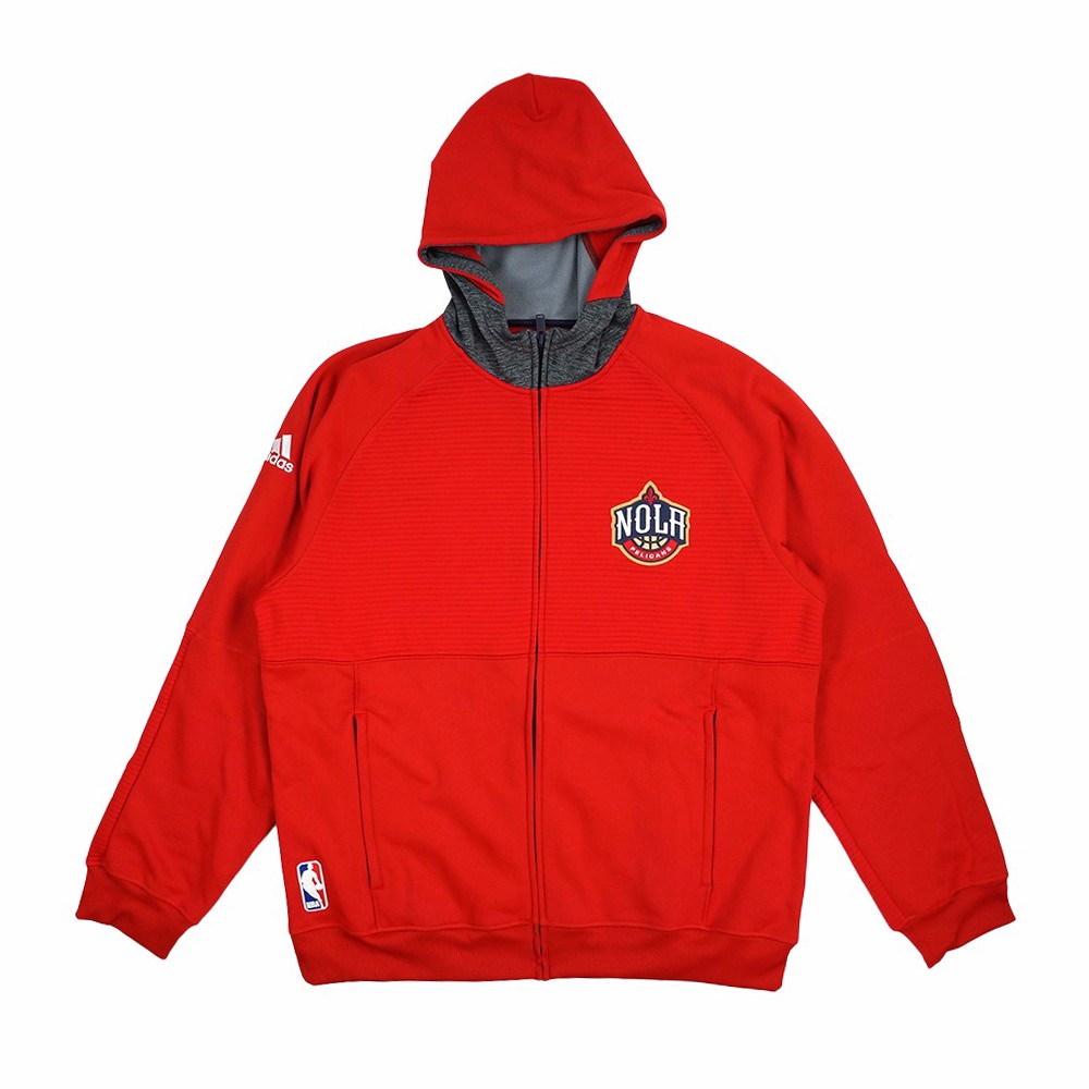 New Orleans Pelicans NBA Adidas Red  Team Issued Pre-Game Full Zip Hooded Pro Cut Jacket For Men (2XL)
