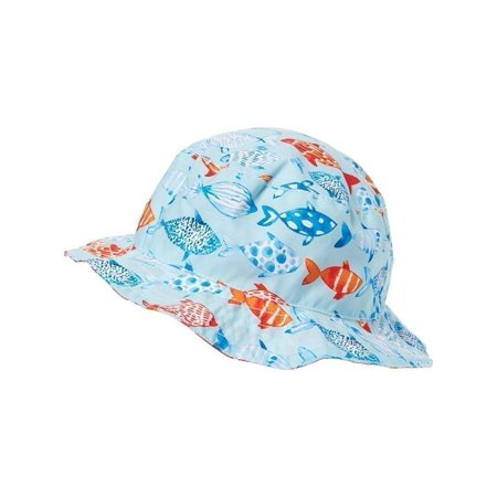 Azul Unisex Little Kids Light Blue Fish and Co. Print Reversible Sun Hat 2 thumbnail