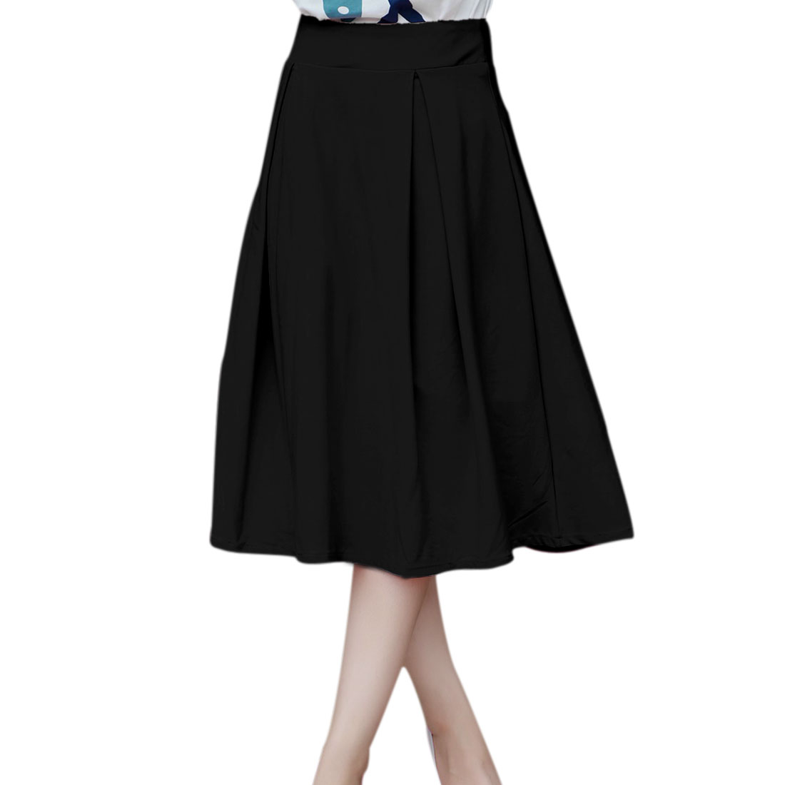 allegra k s pleated below knee length skirt black