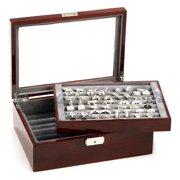 RR-520-M Mahogany Cufflinks and Jewelry Armoire