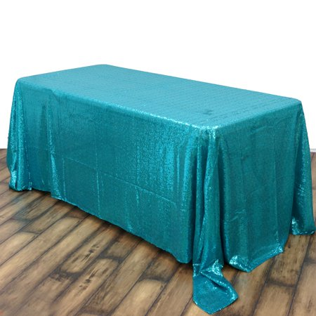 Silver Sequin Tablecloth (BalsaCircle Turquoise 90x156