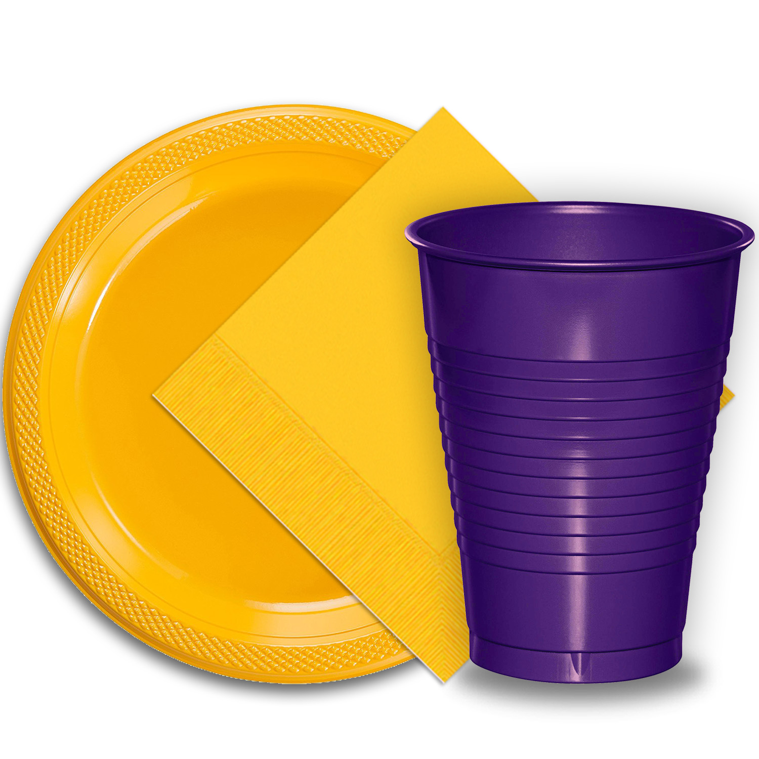"50 Yellow Plastic Plates (9""), 50 Purple Plastic Cups (12 oz.), and 50 Yellow Paper Napkins, Dazzelling Colored Disposable Party Supplies Tableware Set for Fifty Guests."