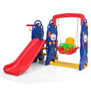 Gymax 3 in 1 Toddler Climber and Swing Set Kid Climber Slide Playset w/Basketball Hoop