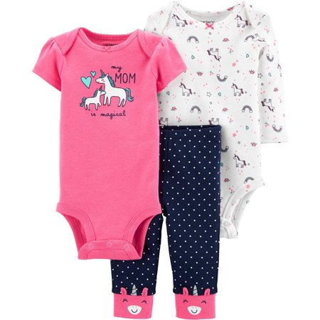 Carters Baby Girls 3-pc. Mom Is Magical Unicorn Layette Set (Accesorios Carteras)