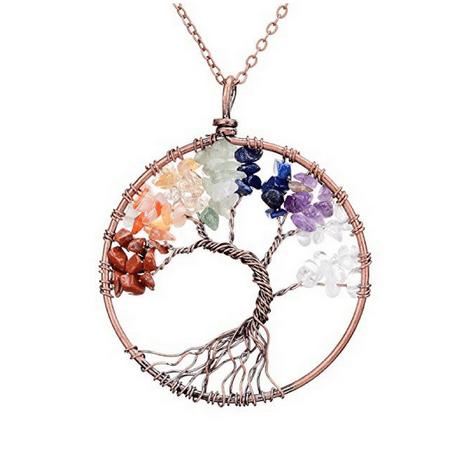 Handmade Genuine Gemstone Chakra Tree of Life Pendant Necklace Handmade Stone Pendant