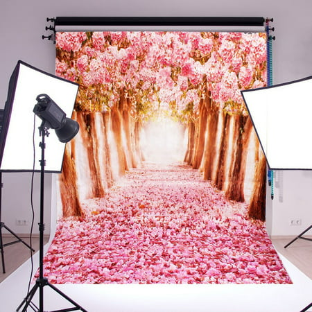 NK 5 x 7ft Photo Booth Party Backdrops Cherry Blossoms Sakura Road Printed Vinyl Fabric Party Decorations Wedding Ceremony Photography Background Screen Props