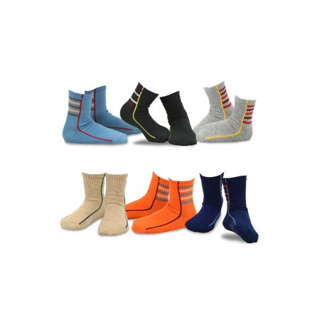 TeeHee Kids Boys Sports Stripe Cotton Crew Socks 6 Pair - Striped Socks Kids