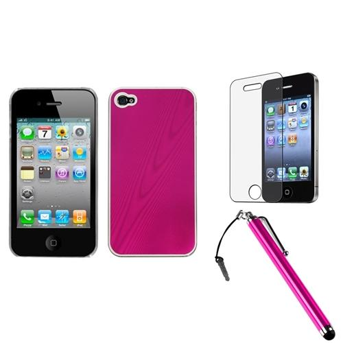 Insten Hot Pink Cosmo Back Case For iPhone 4 4S + Stylus + LCD Guard