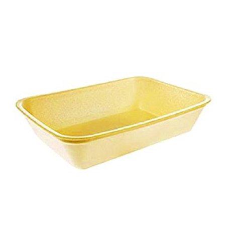 Yellow Foam Meat Tray - CKF 42Y, #42P Yellow Foam Meat Trays, Disposable Standard Supermarket Meat Poultry Frozen Food Trays, 100-Piece Bundle