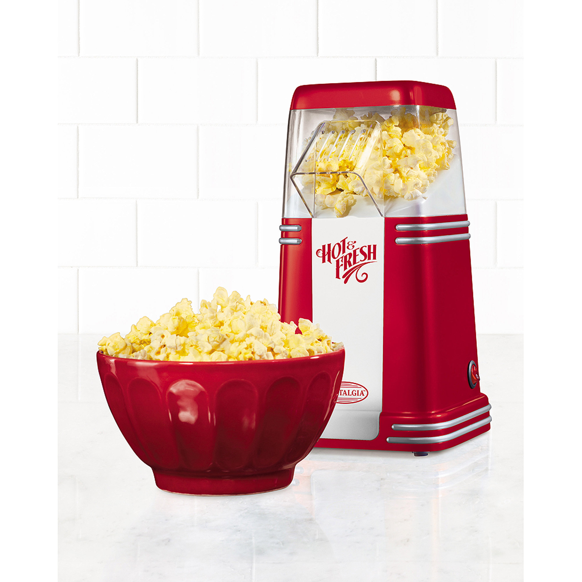 Nostalgia Mini Hot Air Popcorn Maker, Red