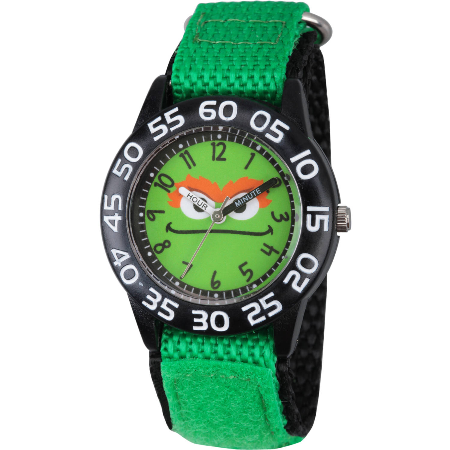 Sesame Street Boys' Black Plastic Time Teacher Watch, Green Hook and Loop Nylon Strap with Black Backing