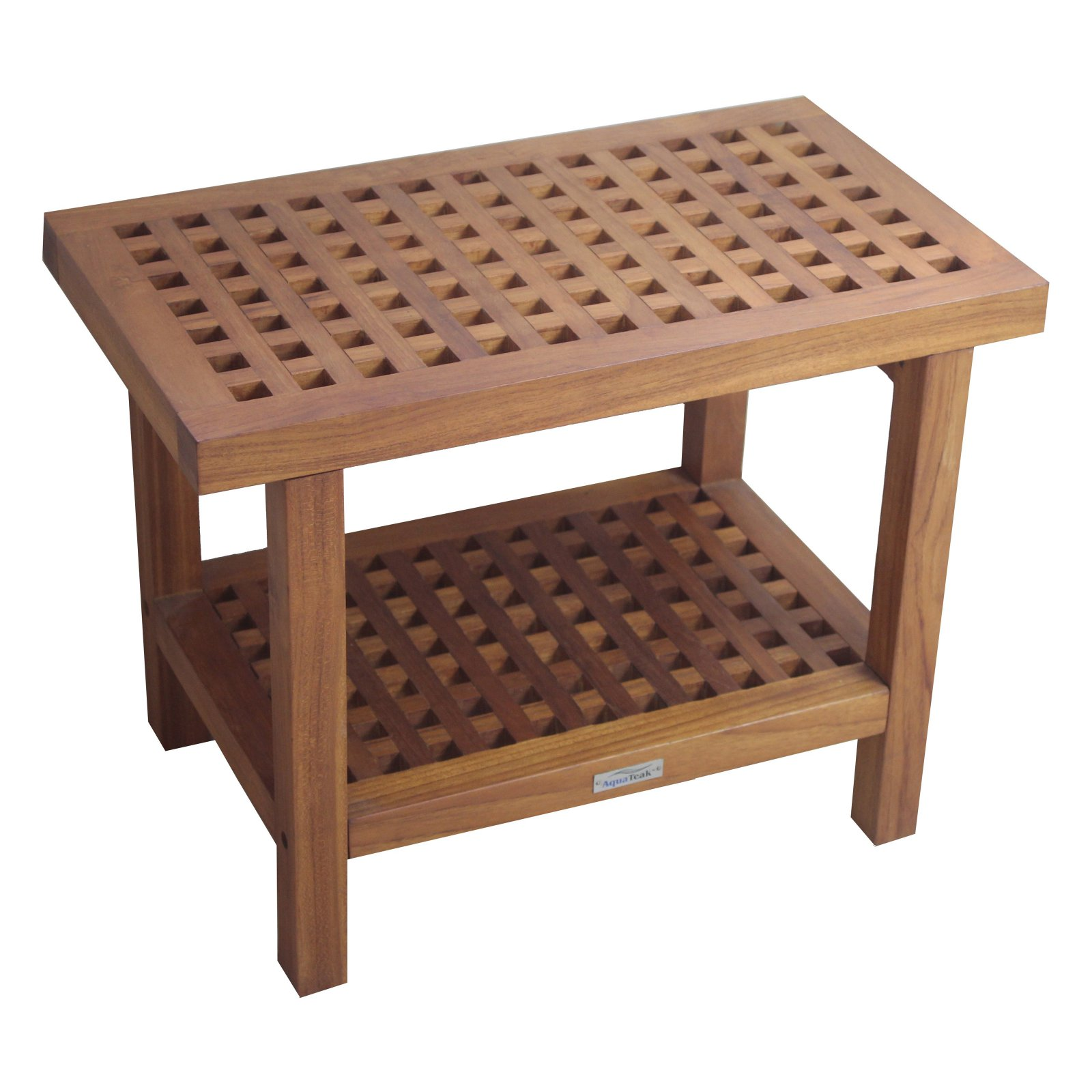 Aqua Teak Grate Bench with Shelf 24 in. Wide