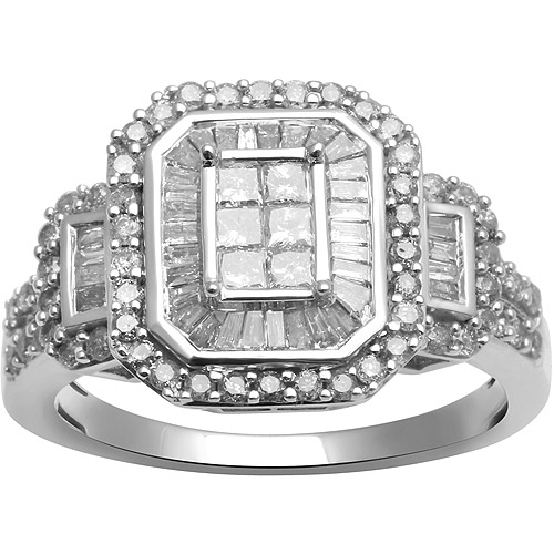 1ct. T.W. Baguette, Princess and Round Diamond 10kt White Gold Engagement Ring