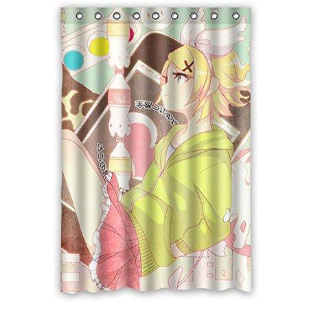 Ganma Print Cute Cartoon Kagamine Rin Len Shower Curtain Polyester Fabric Bathroom Shower Curtain 66x72 - Kagamine Rin Halloween