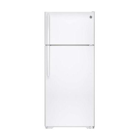 GIE18HGHWW 28 Top Freezer Refrigerator with 17.6 cu. ft. Capacity Factory-Installed Icemaker Adjustable Door Bins Upfront Temperature Controls Reversible Hinges and Energy Star Rated in White