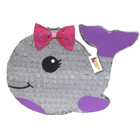 APINATA4U Gray Baby Whale Pinata with Pink Bow Nautical Theme Party - Toddler Party Themes