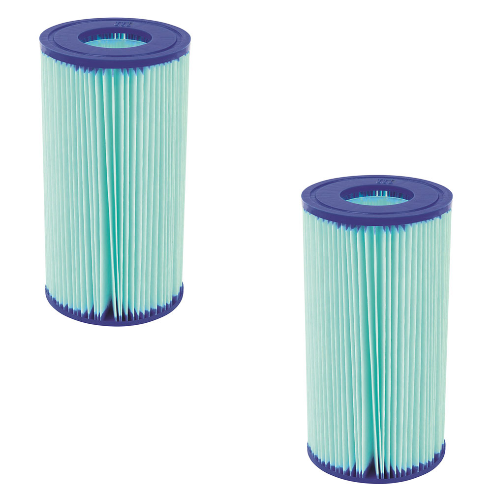 Bestway 58476E Flowclear Anti Microbial Type III, A/C Pool Filter (2 Pack)