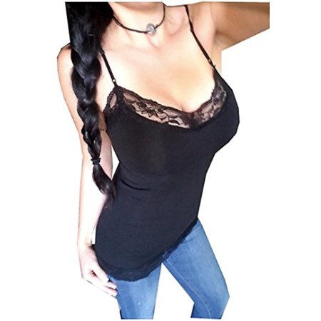 Women's Plus Size Lace Low-cut Camisole Tank Top Adjustable (Girls Lace Trim Camis)