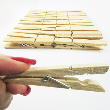 Large Clothespins (AllTopBargains 60 Wood Wooden 2 3/4