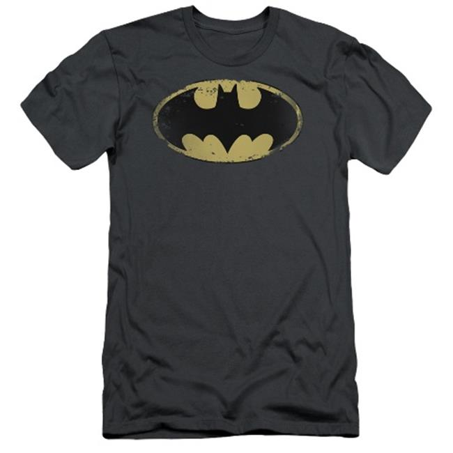 Batman-Distressed Shield - Short Sleeve Adult 30-1 Tee - Charcoal, Large - image 1 of 1