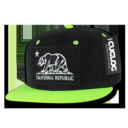 66ed1edd7d7 CUGLOG California Cali Bear Patch Snapback Caps Hat Cap Hats For Men Women  Black Neon Green - Walmart.com