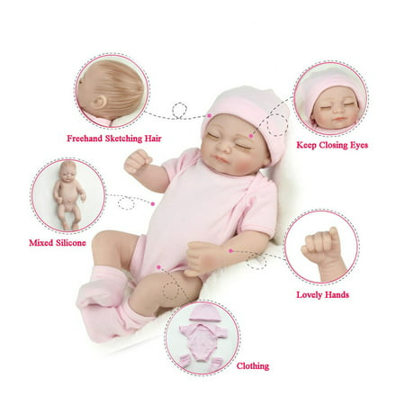 Handmade Kids - 11'' Realistic Silicone Vinyl doll Sleeping Reborn Babies Doll That Look Real Lifelike Realike Alive Newborn Girl Dolls Handmade Weighted Alive Doll for Toddler Kid Gifts