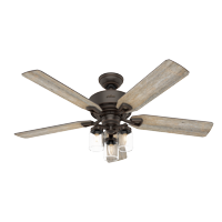 "Hunter 52"" Devon Park Onyx Bengal Ceiling Fan with Light Kit and Remote"
