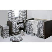 Bacati Ikat 3-Piece Crib Bedding Set, White/Grey