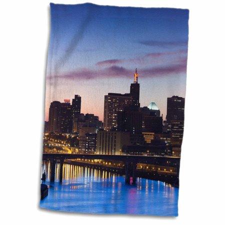3dRose USA, Minnesota, Minneapolis, St. Paul, elevated skyline, Indian Mounds - Towel, 15 by 22-inch - Paul Frank Towel
