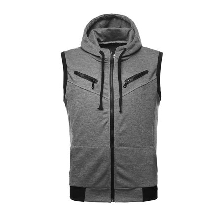 Azzuro Men's Zip Fastening Hoodie Vest with Ribbed Trim Gray (Size S / 36) (Golf Ribbed Vest)