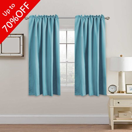 Extra Blackout Curtain Panels Insulated Thermal Curtains For Bedroom 63 Inch Pair Back Tab Rod Pocket D Living Room Solid